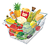 Shopping cart with food | Stock Vector Graphics
