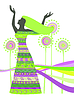 Vector clipart: Woman in dress with patterns for design
