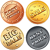 Set of gold, silver, bronze sale labels
