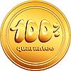Vector clipart: gold button 100 percent guarantee