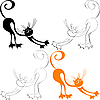 Vector clipart: pattern with ginger cat stretches himself