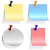 Vector clipart: set of colored labels pinned with pins
