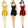 Vector clipart: set of Little Dress black, red and gold colors