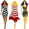 Vector clipart: set of beautiful girls in striped dresses
