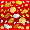 Vector clipart: golden and silver rain of coins