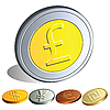 Vector clipart: Money coins with the symbols of the major currencies