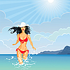 Vector clipart: brunette Girl and the Sea