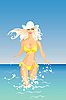 Vector clipart: blond Girl and the Sea