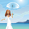 Vector clipart: girl with an umbrella on the sea