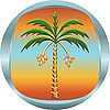 Metal medallion with palm tree | Stock Vector Graphics