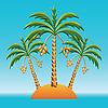 Three palm trees on an island in the ocean | Stock Vector Graphics