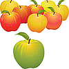 Vector clipart: green apple and set of red and yellow apples