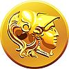 Векторный клипарт: золотая монета с изображением Александра Македонского