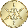 Gold coin with snowflake | Stock Vector Graphics