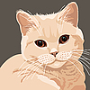 Vector clipart: view of lilac cat