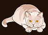 Vector clipart: shorthair lilac cat sits in ambush