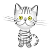 Silver gray tabby cat with yellow eyes | Stock Vector Graphics