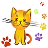 Vector clipart: kitten and tracks