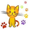 Котенок и треки | Векторный клипарт