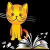 Vector clipart: kitten bully and broken book