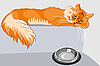 Vector clipart: red fluffy tabby cat with yellow eyes