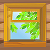 Vector clipart: open wooden window