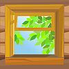 Векторный клипарт: открытое деревянное окно