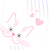 Vector clipart: white cat lover