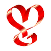 Vector clipart: shiny red ribbon in the shape of heart