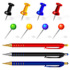 Vector clipart: set of pens and pins
