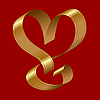 Vector clipart: shiny gold ribbon in the shape of heart