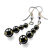 Vector clipart: women`s earrings with black stones