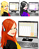 Vector clipart: young beautiful girl as telephone operator