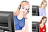 Young beautiful girl as telephone operator | Stock Vector Graphics