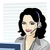 Vector clipart: young beautiful gir asl telephone operator