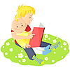 Vector clipart: elder brother is reading book to his younger brother