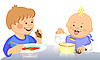 Vector clipart: cute kids eat