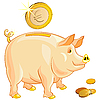 Vector clipart: piggy bank with gold euro coins