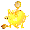 Vector clipart: piggy bank with gold coins