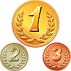 Vector clipart: set of gold, silver and bronze medals
