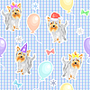 Vector clipart: seamless pattern with holiday dogs