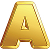 Vector clipart: shiny gold letter A