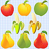 Vector clipart: fruits - apple, pear and banana