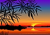 Vector clipart: beautiful sunset over the lake