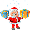 Vector clipart: happy Santa Claus holding gifts