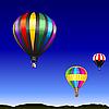 비행 여러 가지 빛깔의 풍선과 함께 사막 풍경 | Stock Vector Graphics