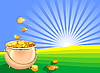 Vector clipart: pot of gold coins on the field