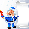 Vector clipart: Santa Claus with pen and scroll