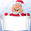 Vector clipart: Santa Claus with paper scroll in his hands