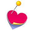 Vector clipart: stickers in the shape of heart with pin